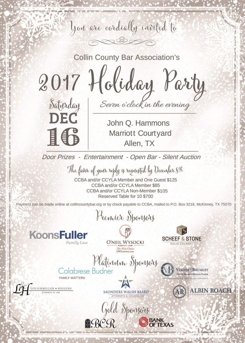 holiday party collin county bar association holiday party